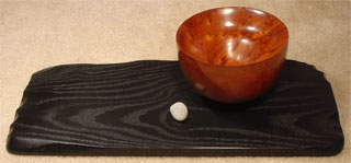 """""""Basin"""": Redwood bowl on a painted sassafras base, with beach pebble"""