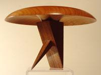 """Crane"" (Flight Series No. 4): Cherry bowl on a Brazilian cherry stand"