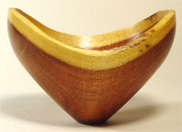 """""""Yearning to Soar"""" (Flight Series No. 7): Mesquite bowl with Peruvian chrysocolla inlay"""