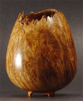 """""""What Emerges"""" (Holy Vessel Series No. 4): Natural-edge maple burl vessel with carved foot"""