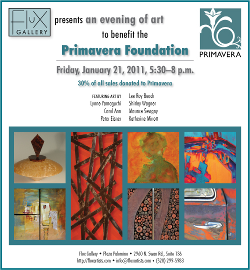 Flux Gallery presents an evening of art to benefit the Primavera Foundation, Friday, January 21, 2011.